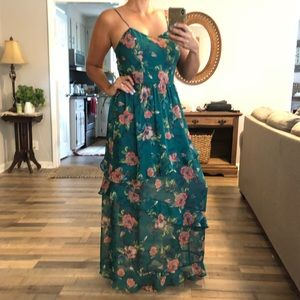 Xhilaration green floral tiered ruffle maxi dress